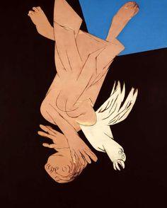 Name: Tyeb Mehta(B. 1925)  Title: Falling figure with bird.