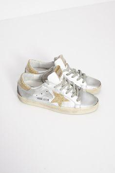 Silver and Gold Superstar Sneaker by Golden Goose | shopheist.com