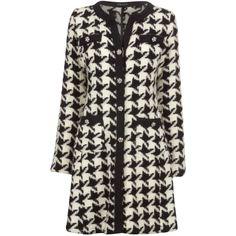 James Lakeland Large Chanel Coat, Cream/Black ($400) ❤ liked on Polyvore