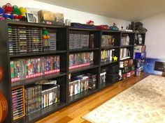 Video game storage video game stand large size of shelf gaming shelf pictur Video Game Shelf, Video Game Storage, Video Game Organization, Gaming Shelf, Deco Gamer, Consoles, Geek Room, Video Game Rooms, Game Room Design
