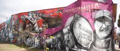 """El mural """"El regreso de Quinquela"""", fue realizado por el artista Alfredo Segatori sobre la calle Pedro de Mendoza y San Antonio. El mismo mide 2000 m2, es el más grande del mundo y está realizado con aerosol a mano alzada. Barracas, Ciudad de Buenos Aires."""