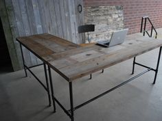 Rustic L Shaped Unfinish Wooden Desk With Steel Pipe Table Legs And Stretcher, Popular Rustic Standing Desk For Small Home Office Furniture Design: furniture