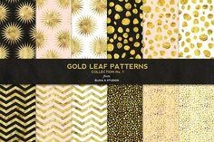 Gold Leaf Digital Patterns No. 1 by Blixa 6 Studios on @creativemarket