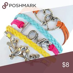 "Neon pink yellow ""love "" braided leather bracelet This multi strand leather bracelet wraps the wrist with a delicate silver tone charms that showcase sweet sentimentality making an ideal piece for gift-giving. 1"" W X 6 "" long. Lobster Claw clasp. Jewelry Bracelets"