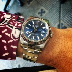Rolex Datejust II, Fluted bezel, Oyster bracelet, Stick index, Blue dial