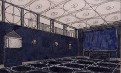 Rendering for the Music Room / Theater for the Palais Stoclet, Brussels, 1905, by Viennese architect Josef Hoffmann.  That is one hell of a private theater!