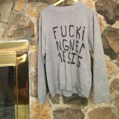 """""""F*cking nemesis"""" sweater Great condition, hand painted text on soft 100% cotton gap basic editions sweater UNIF Sweaters Crew & Scoop Necks"""