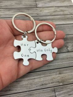 Puzzle Piece Keychains, Her one His only Couples Keychains. Perfect gift for christmas or Valentine's Day. Show your boyfriend/girlfriend that they are your one and only with these cute keychains. The