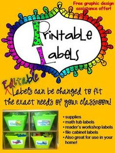 Labels - R.E.A.L. pictures on each label - EDITABLE Classroom labels