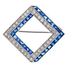 "Art Deco Diamond Sapphire ""Diamond Shaped"" Platinum Brooch    1930"