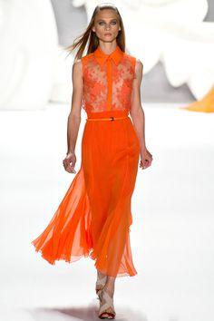 Carolina Herrera 2013. wonderful tangerine color. note: sheer lace