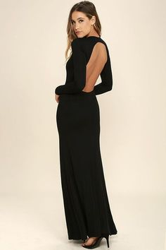 3c1b3bb2d3d A successful evening starts with the Up and Coming Black Backless Maxi Dress!  Soft and