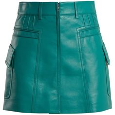 Pintucked grained-leather mini skirt Prada MATCHESFASHION.COM ($1,170) ❤ liked on Polyvore featuring skirts, mini skirts, prada, blue mini skirt, short blue skirt, prada skirt and mini skirt