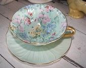 Vintage Shelley Tea Cup and Saucer Melody in the Oleander Shape, On Sale