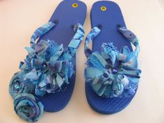 b4bdf2ed6fded Blue Flip Flops Decorated Convertables
