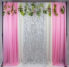 Kate 5x16ft Pink White With Silver Glitter Ice Silk Background Curtains Silver Sequins Cloth Decoration for Wedding Party Decor Cloth Prop Stage Backgrounds