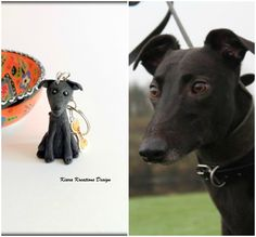 Greyhound Keyring Gift//Present Key Ring Figurine Dog