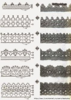 Crochet lace edging with diagrams # 07 Crochet Edging Patterns, Crochet Lace Edging, Crochet Motifs, Crochet Borders, Crochet Diagram, Crochet Chart, Diy Crochet, Crochet Doilies, Crochet Stitches