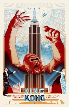 King Kong par Merian C Cooper x 102 cm) King Kong 1933, Art Deco Posters, Cool Posters, Vintage Posters, Film Posters, Vintage Movies, Skull Island, Beetlejuice, Film Trailer