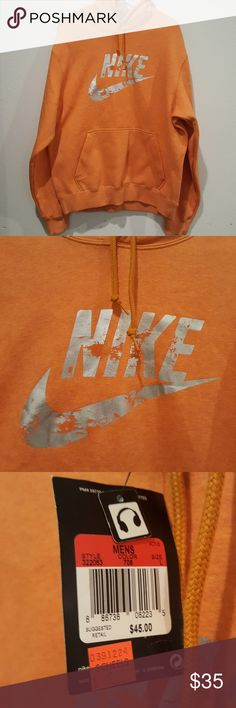 NWT Mens Nike Sportswear Orange Sweatshirt Large Brand new Nike Sweatshirt. Size large. Has a spot for headphones to come thru pocket in front. Nike Shirts Sweatshirts & Hoodies