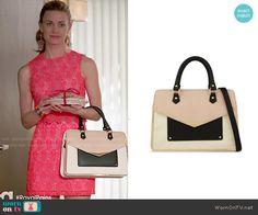 Paige's colorblock satchel on Royal Pains.  Outfit Details: http://wornontv.net/49863/ #RoyalPains