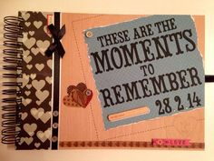 a recently completed custom order for a keep sake memory scrapbook gifted as an anniversary present