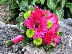 Gerber Daisy Bouquet, but with blue instead of pink