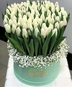 Centerpiece that doubles as gifts for each lady - Beautiful Bouquet Of Flowers, Beautiful Flower Arrangements, Beautiful Flowers, Flower Box Gift, Flower Boxes, Tulpen Arrangements, Floral Arrangements, White Tulips, White Flowers