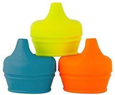 Boon Snug Silicone Sippy Lids, Blue/Orange/Green (Pack of Blue Orange, Blue Green, Color Blue, Purple, Baby Needs, Baby Feeding, Baby Food Recipes, Snug, The Help