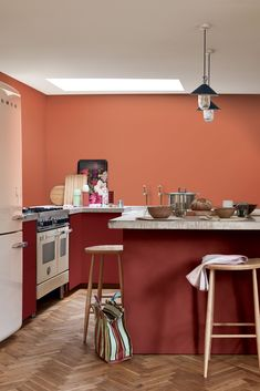 An orange paint for a trendy and sparkling cuisine rnrnSource by emizins Starchy Foods, Best Oatmeal, Steak And Eggs, Cuisines Design, Interior Exterior, Interior Paint, Kitchen Paint, Culinary Arts, Balanced Diet