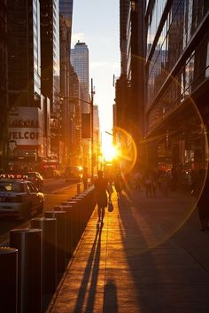 City glare cars cities sun people