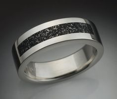 14k White gold mans ring with Chondrite by Metamorphosisjewelry, $1390.00