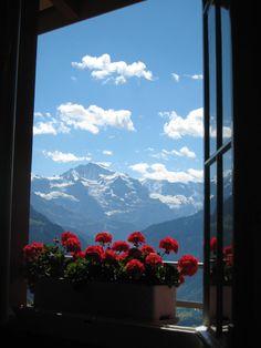 View of The Jungfrau Summit from the top of Harder Kulm  Interlaken, Switzerland    Photo By Darlene Castillo