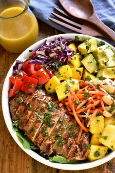 This Caribbean Grilled Chicken Salad combines all the best flavors of the Caribbean in one delicious dish! Loaded with pineapple, mango, avocado, red pepper, Mango Avocado Salsa, Mango Salad, Grilled Chicken Salad, Chicken Salad Recipes, Chicken Salads, Whole Food Recipes, Healthy Recipes, Yummy Recipes, Salad