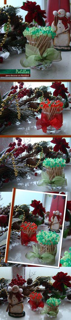 Palillos coloridos (mondadientes) en ésta ocasión para Navidad ideales para cenas entre amigos para pinchar quesitos o cualquier aperitivos que lo requiera (pasapalos, pinchos) Lucen geniales en la mesa. Además se pueden hacer de cualquier color.