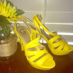 Bright Yellow strappy sandal guess heels Add a pop of color! Reposhing these. I wore only once and they're in great condition! They have a small scuff on the toe and couple minor marks from previous owner. But they're barely worn. Not sure if they wore them cuz the bottoms look so nice. Great buy! :) Guess Shoes Heels