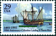 puerto rico  postal stamps | ... Stamps: 29c 500th Anniv of Columbus\'s Landing at Puerto Rico 1993