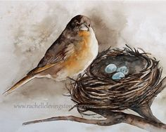Bird Nest PRINT ( Painting Robin Bird Nest Painting 8x10) Brown room decor brown wall hanging gold robin egg blue (Bird with nest print). $16.00, via Etsy.