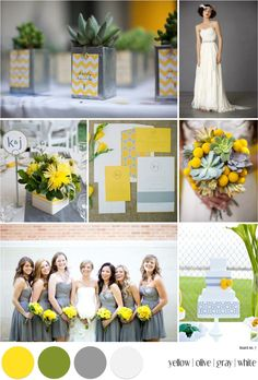Not what i'd want for my wedding but i do like these colors together...yellow, olive, and gray! Perhaps paint/decor inspiration for the apartment?!