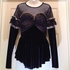 Rhinestone Ice Skating Outfit No label but I would say it fits xs to medium stretchy material rhinestones long sleeve for ice skating competition or costume great velvet material with mesh good condition small area to resew by shoulder pic to skins as is zip back Dresses