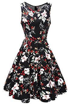 Vestido clásico retro años 50 negro con estampado flores, primavera verano