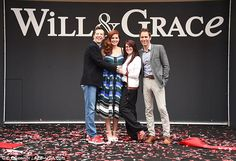 Fab four: Sean and Eric stood for photos with Debra Messing, who plays Grace Adler, and Megan Mullally, who'd stolen the show as Jack's scathing best friend Karen Walker Will Truman, Grace Adler, Debra Messing, Straight People, Katharine Mcphee, Will And Grace, Comedy Tv, Karen Walker, Twenty One