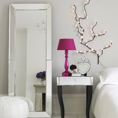 grey rooms, mirror mirror, mirrored furniture, white lights, new room, framed mirrors, venetian mirrors, bedroom, girl rooms