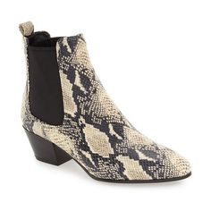 Women's Sam Edelmen 'Reesa' Chelsea Boot ($150) ❤ liked on Polyvore featuring shoes, boots, ivory snake print leather, ivory cowboy boots, python cowboy boots, leather western boots, leather boots and genuine leather boots