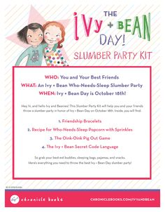 Download an Ivy + Bean Slumber Party Kit!