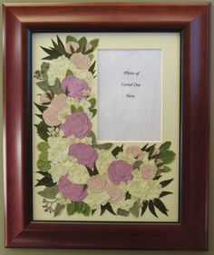 Mother's Memorial Flowers pressed and preserved around her photograph. Pressed Garden ~ Annie Smith ~ www.pressedgarden