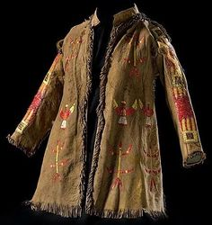 Clothing; Sioux, Jacket, Quilled Hide, Animals & Birds Design, Tin Cones & Horsehair, 30 inch.