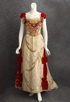 Ball Gown, Catherine Donovan: ca. 1890, silk brocade, satin damask, velvet, sequin embellishment and princess lace.