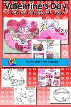 """Create Valentine's Day Crafts with your students this February! This product includes crafts (owl wreath, bird in heart nest), student to parent """"I Owe You's"""", teacher to student Valentine's Cards in black line and color, a love bug mobile, Valentine's themed landscape drawing, and """"when you're done"""" coloring sheets! This product includes lesson plans for each activity and has some step by step picture examples and finished work examples for crafts so you and your students will never get…"""