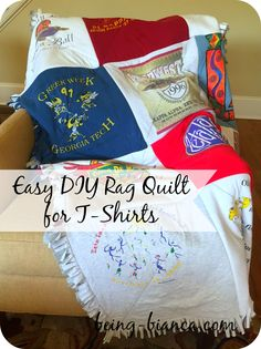 Been saving t-shirts to make a memory quilt? Here's the absolute easiest method for non-quilters! Making it myself saved me a ton of money and I didn't even have to learn how to quilt ... yes, please!